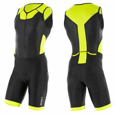 2XU Men's X-Vent Front Zip Triathlon Trisuit - Black/Lime Punch (Small)
