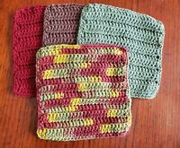 New~Lot of 4~Autumn Leaves Handmade-Crocheted 100% Cotton Dish/Wash Cloths