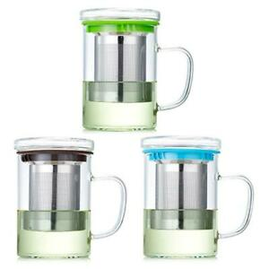 Glass Tea Cup with Lid and Stainless Steel Infuser Basket Perfect Clear Tea Mug