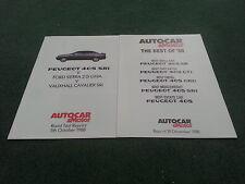 1988 1989 PEUGEOT 405 SRi vs FORD SIERRA / VAUXHALL CAVALIER AUTOCAR BROCHURE