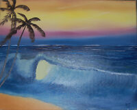 "Original Oil Painting ""PALM TREES ON BEACH"" on Canvas 20"" x 16"" (Art/Landscape)"