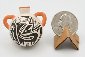 "Acoma Miniature Canteen Pottery Signed ""Cris"""