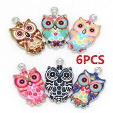 5pcs 47mm red rhinestone owl pendants jewellery making craft UK