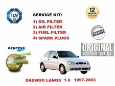DAEWOO LANOS 1.6 1997-2003 OIL AIR FUEL FILTER SET + SPARK PLUGS SERVICE KIT