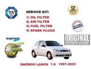 DAEWOO LANOS 1.6 1997-2003 OIL AIR FUEL FILTER SET + SPARK PLUGS SERVICE KIT
