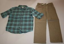 New Carter's 5 yr Boys 2 Piece Set Blue Navy Plaid Dress Shirt Top & Khaki Pant