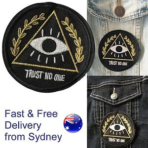 Trust no one Iron on patch Illuminati eyes observing eye watcher iron-on patches
