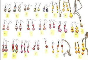 Fimo Drawbench Perlen Ohrringe Gelb Rosa, Rot in versch. Ausführungen