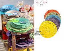 VILLA D'ESTE Set 6 tovagletta tonda uncinetto sottopiatto color