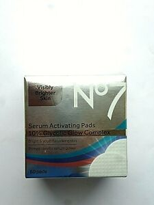 No7 Serum Activating Pads 10% Glycolic Glow Complex 60 Pads Boxed.(0667) NEW