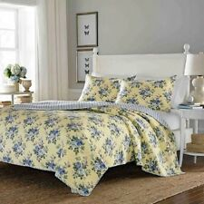 Quilt Set For Woman King Comforter Bedding Cover Yellow Base Blue Flowers