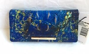 New Brahmin Melbourne Ady Croc Embos Leather Slim Wallet Clutch PHTHALO Blue