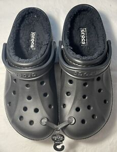New Men's CROCS Black Lined Shoes Clogs Size 11 FREE SHIPPING