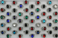 Wholesale Lots 7pcs Fashion Jewelry Charm Glass Women Mens Alloy Rings Free P