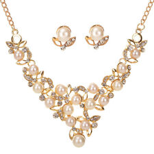 White Pearls Diamante Flowers Gold Necklace Earrings Set Costume Jewellery