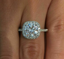 """3.53ct Round Brilliant Halo Engagement Ring 14k White Gold Over VVS1/D Size""""7"""""""