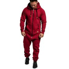 Winter Men's One piece Hooded Zipper Jumpsuit Long sleeve Fleeces Pants Casual D