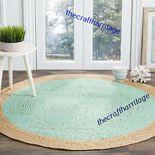 Indian Natural Jute Braided Round Floor Mat Handmade Reversible 5 Feet Vintage