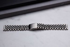 20mm Jubilee Watch Band With Flat End Links Vintage Style Watch Bracelet