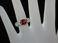 $16,200~PLATINUM~ESTATE 4.62CT GEM FINE ORANGE SAPPHIRE~DIAMOND RING $3999