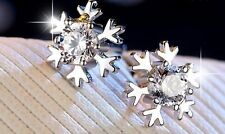 Sparkling Snow Flake Frozen Sterling Silver Cubic Zirconia Stud Earring Gift L1