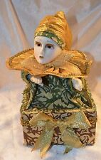 ANIMATED MUSIC BOX Porcelain DOLL Jester Harlequin Wind Up plays Silent Night