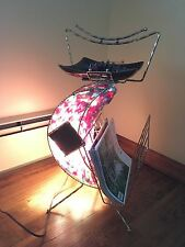 Vintage Magazine Rack Ashtray Metal & Fiberglass Light Up Smoke Stand Mid-C Rare