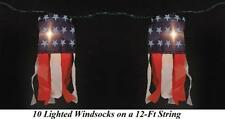 "12Ft Patriotic Lighted Windsocks Outdoor 4th of July String Light Decoration 8""L"