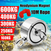 600KG 1322LB Dual Side Super Strong Neodymium Magnet Salvage Fishing + 10M Rope