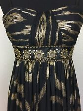 OLEG CASSINI Size 4/6 Ball Prom Gown Formal Dress Beaded Bandeau Gold Metallic