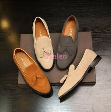 Handmade Mens Loafer Slip On British Tassel Low Top Casual Shoes Leather Fashion