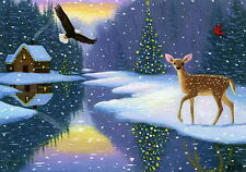 Bald eagle fawn cabin Christmas creek snow limited edition aceo print art