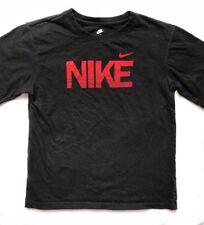 NIKE Athletic Short Sleeve Shirt Boys Size 7 EUC Black w/ Red NIKE & Swoosh