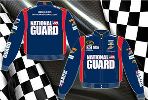 Men's Nascar Dale Earnhardt Jr Jacket National Guard Navy Red Twill Jacket