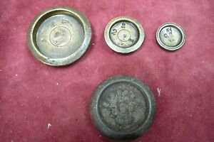 3 X  Antique Brass Weights For Weighing Scales marked VR + 1 CAST IRON WEIGHT