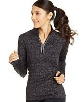 New IDEOLOGY Womens Space-Dyed 1/4 Printed Quarter-Zip Top Sports Fitness Jacket