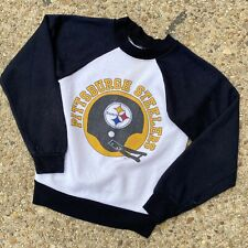 Vintage Pittsburgh Steelers Single Stitch Black Sweat Shirt Kids Med Youth NFL