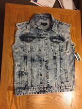 International Concepts Denim Vest Large Hoodless Nwt MOTO Dragon Blue Light Wash