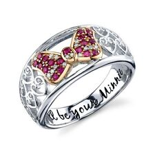STERLING SILVER GENUINE NATURAL DIAMOND/CREATED RUBY DISNEY MINNIE MOUSE RING 8