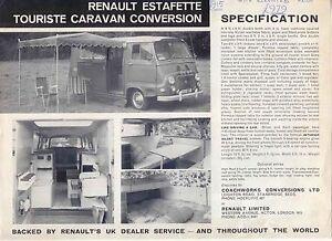 Renault Estafette Touriste Caravan & 12 Seater Bus Conversion Sales Brochure