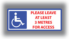 Disabled Stickers Disabled Please Leave 3 Metres for Access Vinyl Car Van Sign