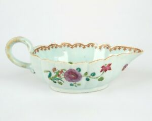 Antique 18th century Chinese Famille Rose porcelain sauce boat