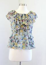 Odille Anthropologie Blue Yellow Floral Print Silk Ruffle Blouse Top Size 4