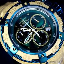 Invicta Thunderbolt Sandblasted Gold Tone Steel Green Chronograph 52mm Watch New
