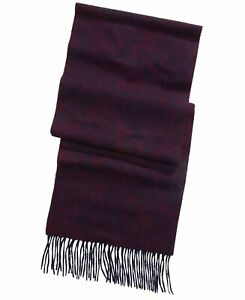 Club Room Men's Scarf Purple Red Fringe Paisley Cashmere Accessory $120 #066
