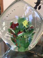 "LARGE VINTAGE BEAUTIFUL MURANO ART GLASS 6"" FISH AQUARIUM PAPERWEIGHT SCULPTURE"