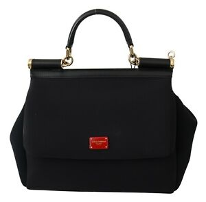 DOLCE & GABBANA Bag SICILY Black Neoprene Hand Shoulder Borse Satchel RRP $1800