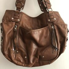 Nine West Caramel Brown Hobo Handbag Inside & Outside Zippered & Open Pockets