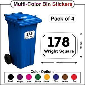 4 x Wheelie Bin Numbers Custom House Street Name Stickers Peel Stick A5/A6 PBN02