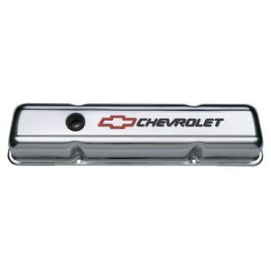 PROFORM 141-899 Chrome Short Valve Covers w/Red & Blk Emblem for 58-86 SB Chevy